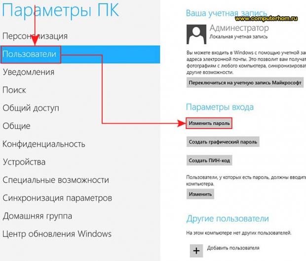 Как убрать пароль в Windows 8
